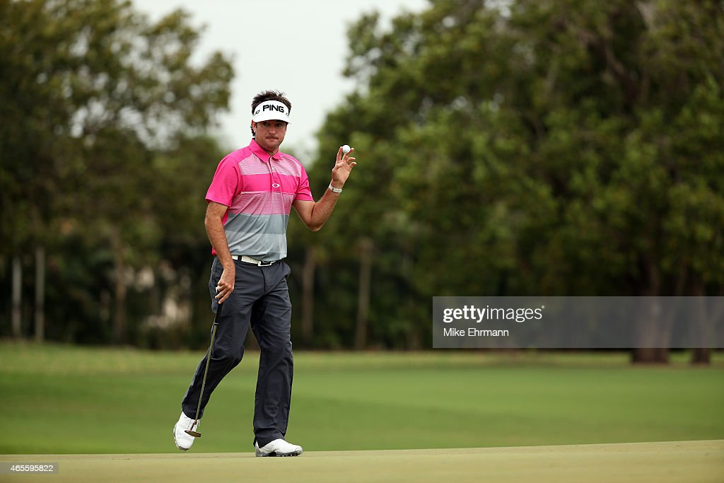 <a gi-track='captionPersonalityLinkClicked' href=/galleries/search?phrase=Bubba+Watson&family=editorial&specificpeople=597658 ng-click='$event.stopPropagation()'>Bubba Watson</a> of the United States reacts after putting out on the second hole green during the final round of the World Golf Championships-Cadillac Championship at Trump National Doral Blue Monster Course on March 8, 2015 in Doral, Florida.