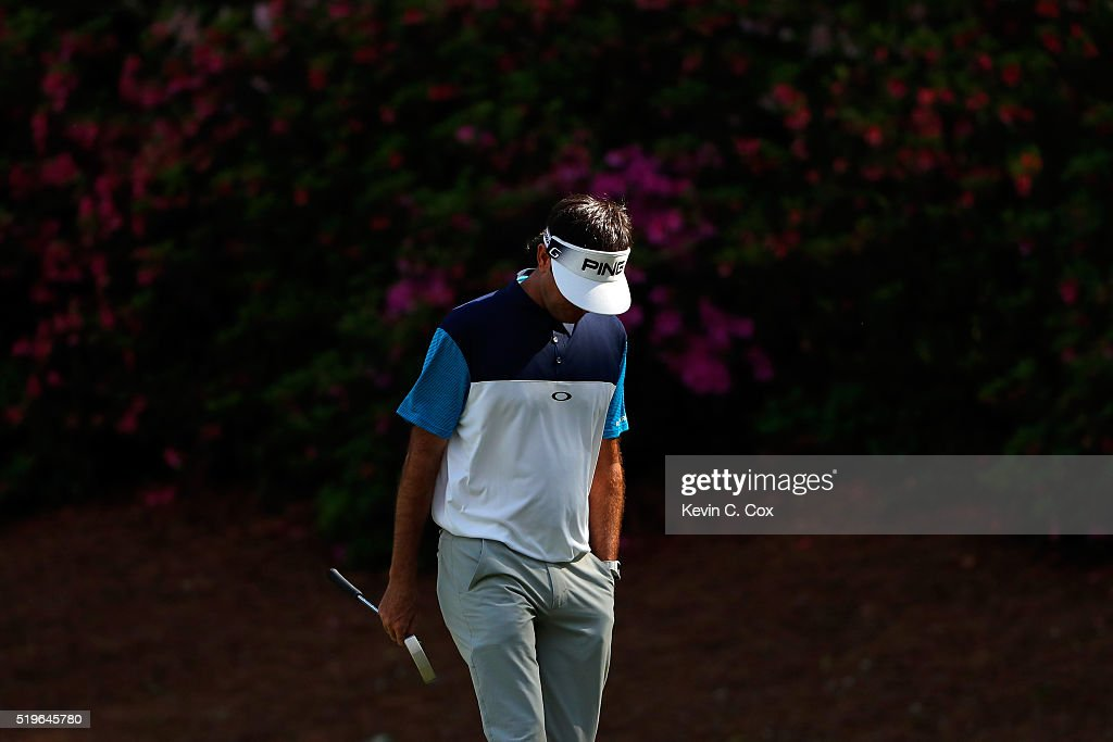 Bubba Watson of the United States reacts on the 13th green during the first round of the 2016 Masters Tournament at Augusta National Golf Club on April 7, 2016 in Augusta, Georgia.