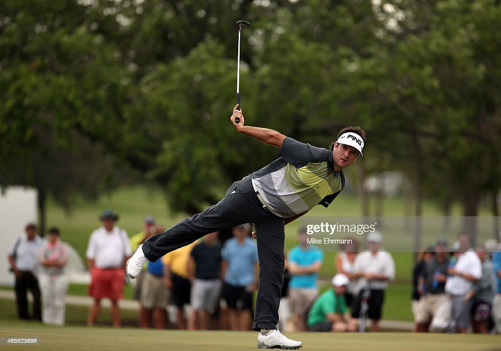 <a gi-track='captionPersonalityLinkClicked' href=/galleries/search?phrase=Bubba+Watson&family=editorial&specificpeople=597658 ng-click='$event.stopPropagation()'>Bubba Watson</a> of the United States reacts to a missed birdie putt on the twelfth green during the third round of the World Golf Championships-Cadillac Championship at Trump National Doral Blue Monster Course on March 7, 2015 in Doral, Florida.