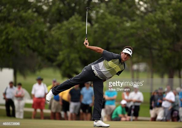Bubba Watson of the United States reacts to a missed birdie putt on the twelfth green during the third round of the World Golf ChampionshipsCadillac...