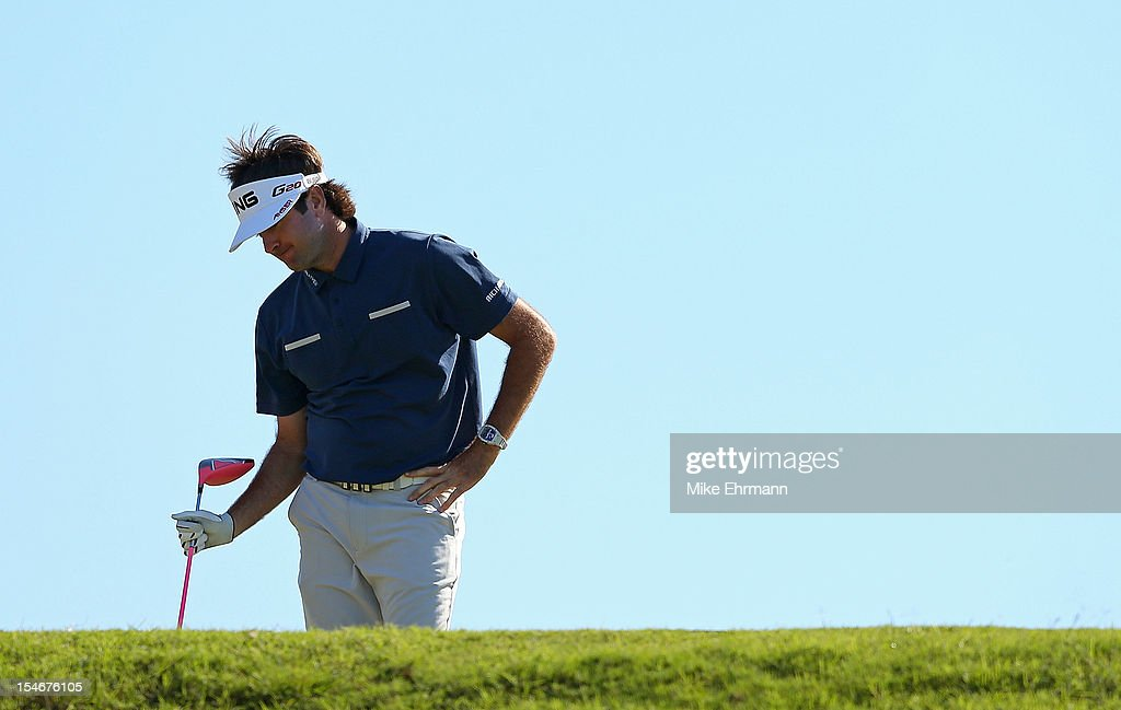 Bubba Watson of the United States reacts to his tee shot on the 18th hole during the final round of the PGA Grand Slam of Golf at Port Royal Golf Course on October 24, 2012 in Southampton, Bermuda.