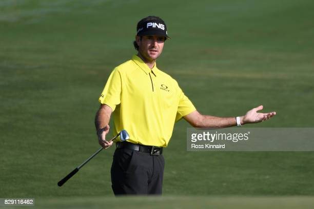 Bubba Watson of the United States reacts to his third shot on the second hole during the first round of the 2017 PGA Championship at Quail Hollow...