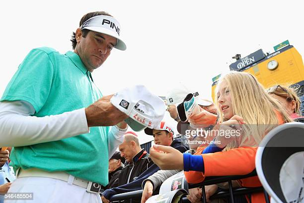 Bubba Watson of the United States signs autographs for fans during a practice round ahead of the 145th Open Championship at Royal Troon on July 12...
