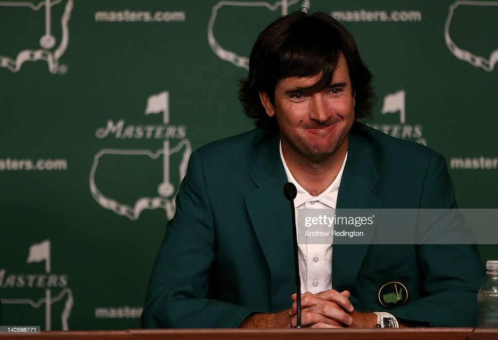 <a gi-track='captionPersonalityLinkClicked' href=/galleries/search?phrase=Bubba+Watson&family=editorial&specificpeople=597658 ng-click='$event.stopPropagation()'>Bubba Watson</a> of the United States smiles during a press conference after his one-stroke playoff victory to win the 2012 Masters Tournament during the green jacket presentation at Augusta National Golf Club on April 8, 2012 in Augusta, Georgia.