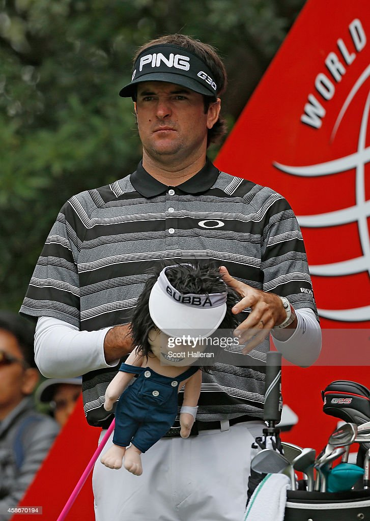 Bubba Watson of the United States waits to hit his tee shot on the second hole during the final round of the WGC HSBC Champions at the Sheshan...