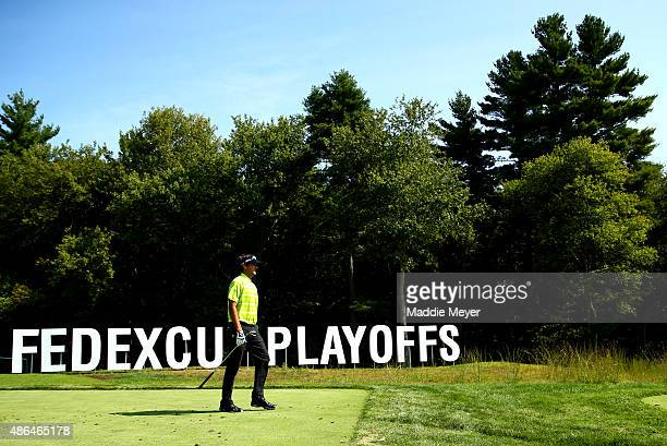 Bubba Watson of the United States walks off the sixteenth tee box during round one of the Deutsche Bank Championship at TPC Boston on September 4...