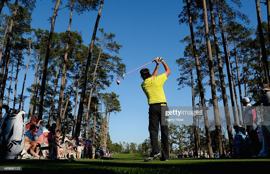 <a gi-track='captionPersonalityLinkClicked' href=/galleries/search?phrase=Bubba+Watson&family=editorial&specificpeople=597658 ng-click='$event.stopPropagation()'>Bubba Watson</a> of the United States watches his tee shot on the 17th hole during the first round of the 2014 Masters Tournament at Augusta National Golf Club on April 10, 2014 in Augusta, Georgia.