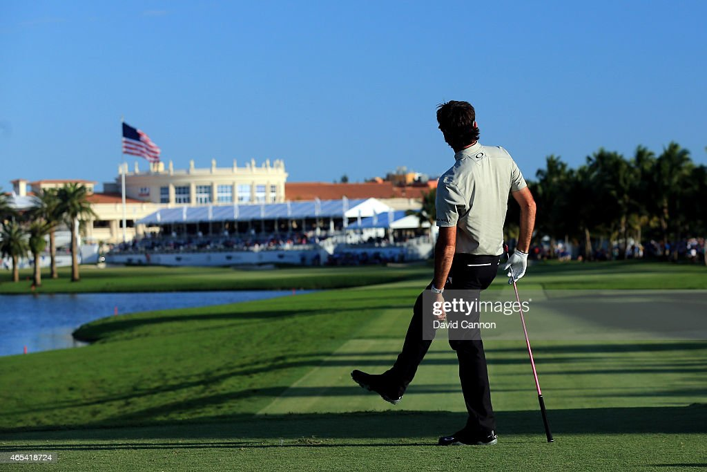 Bubba Watson of the United States watches his tee shot on the eighteenth hole during the second round of the World Golf Championships-Cadillac Championship at Trump National Doral Blue Monster Course on March 6, 2015 in Doral, Florida.