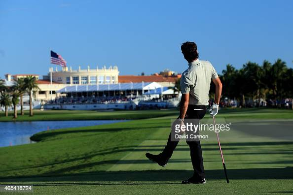 Bubba Watson of the United States watches his tee shot on the eighteenth hole during the second round of the World Golf ChampionshipsCadillac...