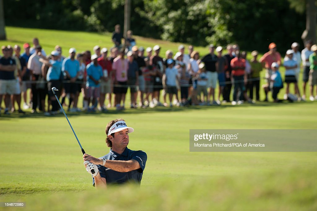 Bubba Watson of the US hits a shot on number 4 during the final round of play at The Port Royal Golf Club for the 30th Grand Slam of Golf on October, 24, 2012 in Southampton, Bermuda.