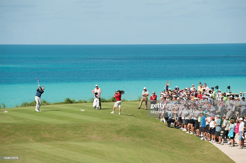 Bubba Watson of the US makes his shot during the final round of play at The Port Royal Golf Club for the 30th Grand Slam of Golf on October, 24, 2012 in Southampton, Bermuda.