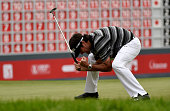 Bubba Watson of the USA celebrates his birdie putt and victory on the first playoff hole during the final round of the WGC HSBC Champions at the...