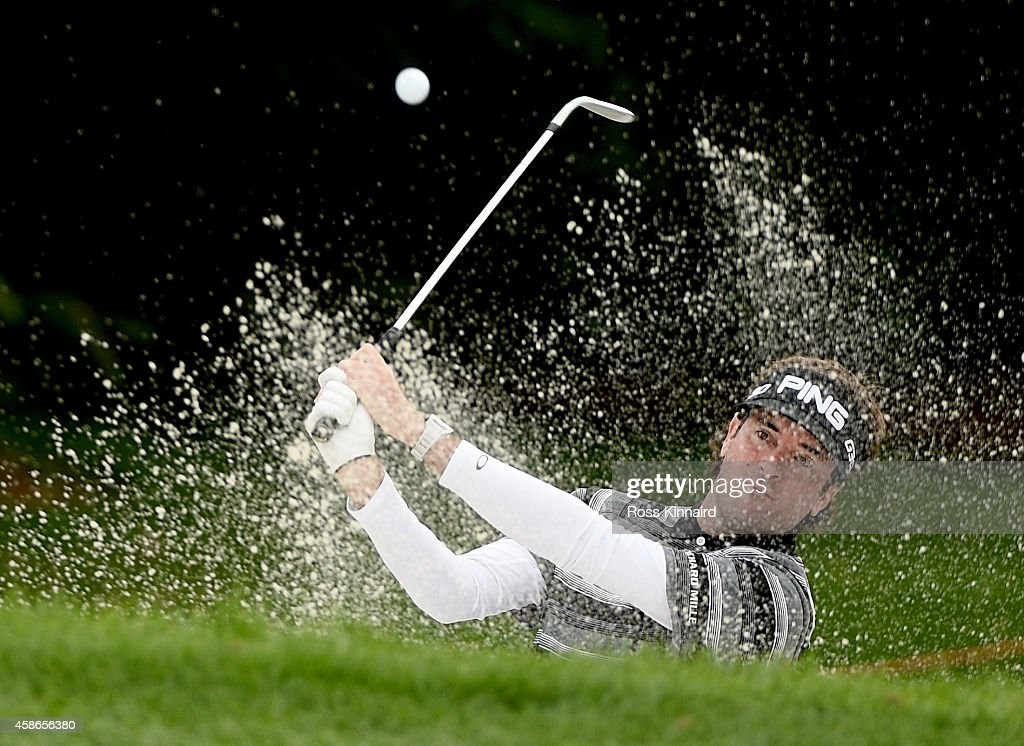 Bubba Watson of the USA plays his third shot on the par four 3rd hole during the final round of the WGC HSBC Champions at the Sheshan International...