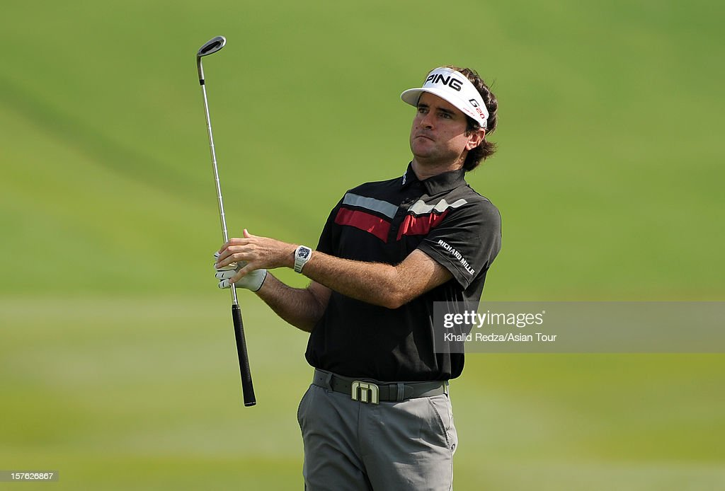 <a gi-track='captionPersonalityLinkClicked' href=/galleries/search?phrase=Bubba+Watson&family=editorial&specificpeople=597658 ng-click='$event.stopPropagation()'>Bubba Watson</a> of United States plays a shot ahead of the Thailand Golf Championship at Amata Spring Country Club on December 5, 2012 in Bangkok, Thailand.