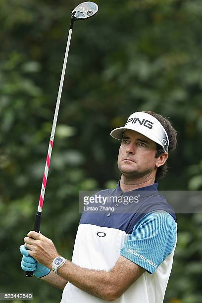Bubba Watson of United States plays a shot during the third round of the Shenzhen International at Genzon Golf Club on April 23 2016 in Shenzhen China