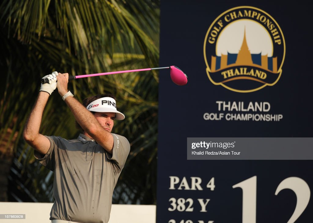 <a gi-track='captionPersonalityLinkClicked' href=/galleries/search?phrase=Bubba+Watson&family=editorial&specificpeople=597658 ng-click='$event.stopPropagation()'>Bubba Watson</a> of USA in action during round two of the Thailand Golf Championship at Amata Spring Country Club on December 7, 2012 in Bangkok, Thailand.