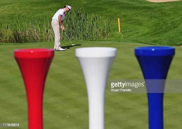 Bubba Watson of USA in action during the second round of The Open de France presented by Alstom at the Golf National Golf Club on July 1 2011 in...