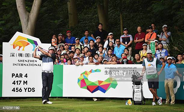 Bubba Watson of USA plays a shot during the final round of the Shenzhen International at Genzon Golf Club on April 19 2015 in Shenzhen China