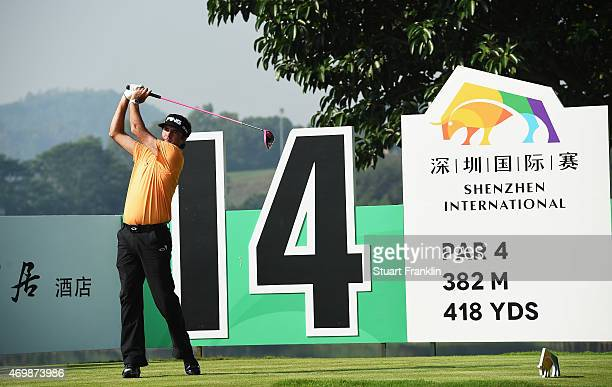 Bubba Watson of USA plays a shot during the first round of the Shenzhen International at Genzon Golf Club on April 16 2015 in Shenzhen China