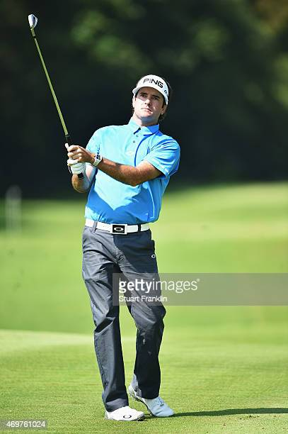 Bubba Watson of USA plays a shot during the proam prior to the start of the Shenzhen International at Genzon Golf Club on April 15 2015 in Shenzhen...