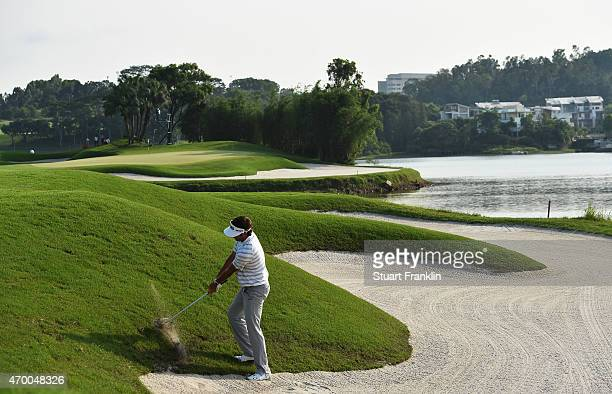 Bubba Watson of USA plays a shot during the second round of the Shenzhen International at Genzon Golf Club on April 17 2015 in Shenzhen China
