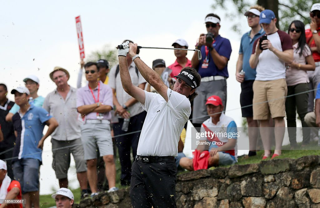 Bubba Watson of USA plays a tee shot on the 9th hole during round two of the CIMB Classic at Kuala Lumpur Golf & Country Club on October 25, 2013 in Kuala Lumpur, Malaysia.