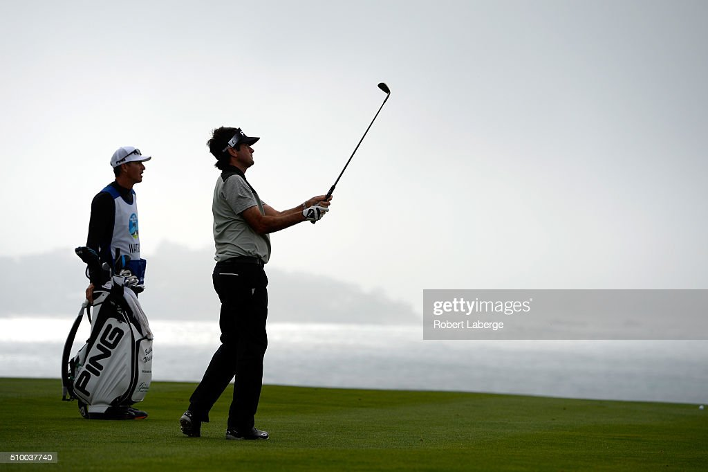 <a gi-track='captionPersonalityLinkClicked' href=/galleries/search?phrase=Bubba+Watson&family=editorial&specificpeople=597658 ng-click='$event.stopPropagation()'>Bubba Watson</a> plays his second shot on the sixth hole from the eighth fairway during round three of the AT&T Pebble Beach National Pro-Am at the Pebble Beach Golf Links on February 13, 2016 in Pebble Beach, California.