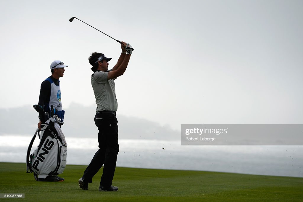 Bubba Watson plays his second shot on the sixth hole from the eighth fairway during round three of the AT&T Pebble Beach National Pro-Am at the Pebble Beach Golf Links on February 13, 2016 in Pebble Beach, California.