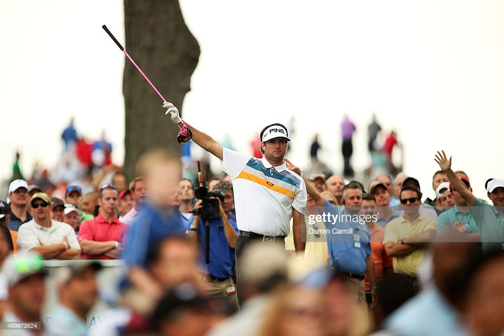 <a gi-track='captionPersonalityLinkClicked' href=/galleries/search?phrase=Bubba+Watson&family=editorial&specificpeople=597658 ng-click='$event.stopPropagation()'>Bubba Watson</a> plays his shot from the 13th tee during the second round of The Barclays at The Ridgewood Country Club on August 22, 2014 in Paramus, New Jersey.