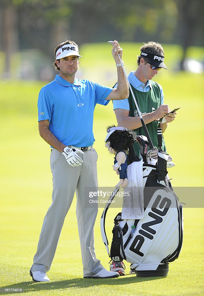 Bubba Watson pulls a club from his bag on the ninth hole during the second round of the Northern Trust Open at Riviera Country Club on February 15, 2013 in Pacific Palisades, California.