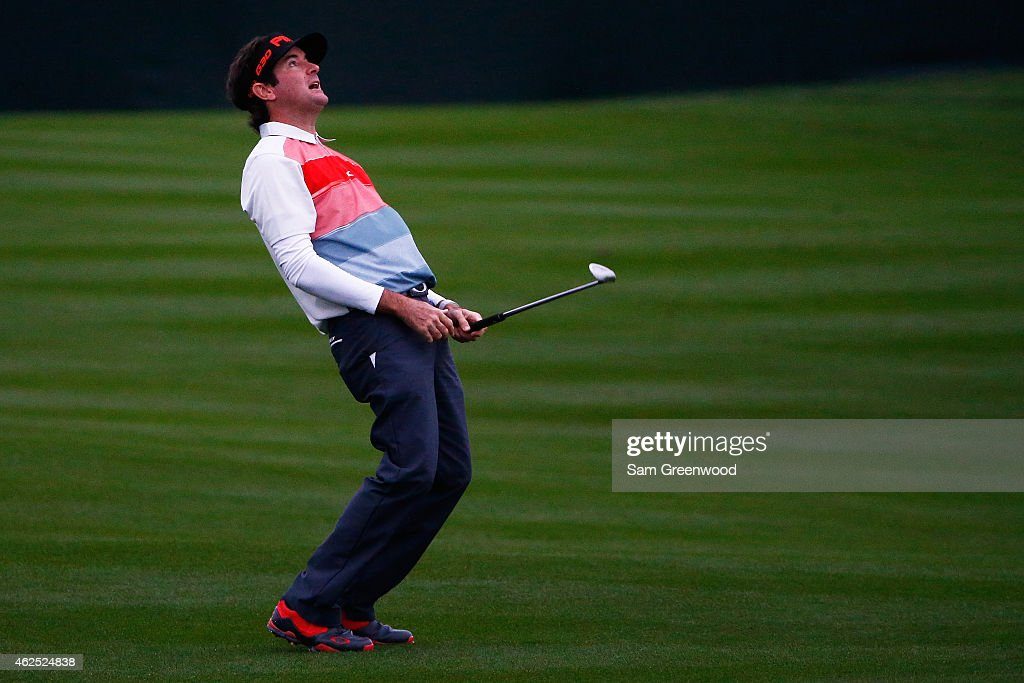 <a gi-track='captionPersonalityLinkClicked' href=/galleries/search?phrase=Bubba+Watson&family=editorial&specificpeople=597658 ng-click='$event.stopPropagation()'>Bubba Watson</a> reacts after playing a shot on the 10th fairway during the second round of the Waste Management Phoenix Open at TPC Scottsdale on January 30, 2015 in Scottsdale, Arizona.