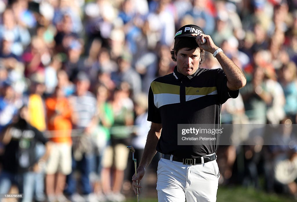 <a gi-track='captionPersonalityLinkClicked' href=/galleries/search?phrase=Bubba+Watson&family=editorial&specificpeople=597658 ng-click='$event.stopPropagation()'>Bubba Watson</a> reacts on the 18th green after completing the final round of the Waste Management Phoenix Open at TPC Scottsdale on February 5, 2012 in Scottsdale, Arizona.
