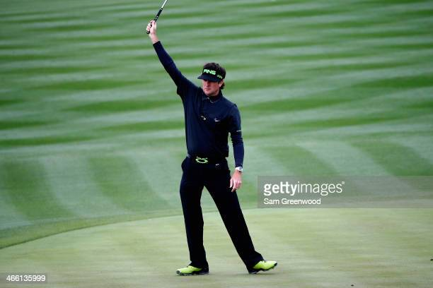 Bubba Watson reacts to making a birdie on the 8th hole during the second round of the Waste Management Phoenix Open at TPC Scottsdale on January 31...