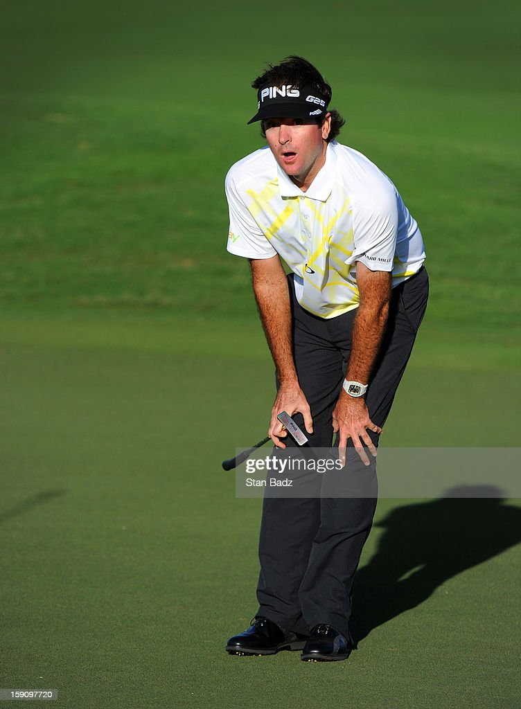 <a gi-track='captionPersonalityLinkClicked' href=/galleries/search?phrase=Bubba+Watson&family=editorial&specificpeople=597658 ng-click='$event.stopPropagation()'>Bubba Watson</a> reacts to putt on the 16th hole during the second round of the Hyundai Tournament of Champions at Plantation Course at Kapalua on January 7, 2013 in Kapalua, Maui, Hawaii.