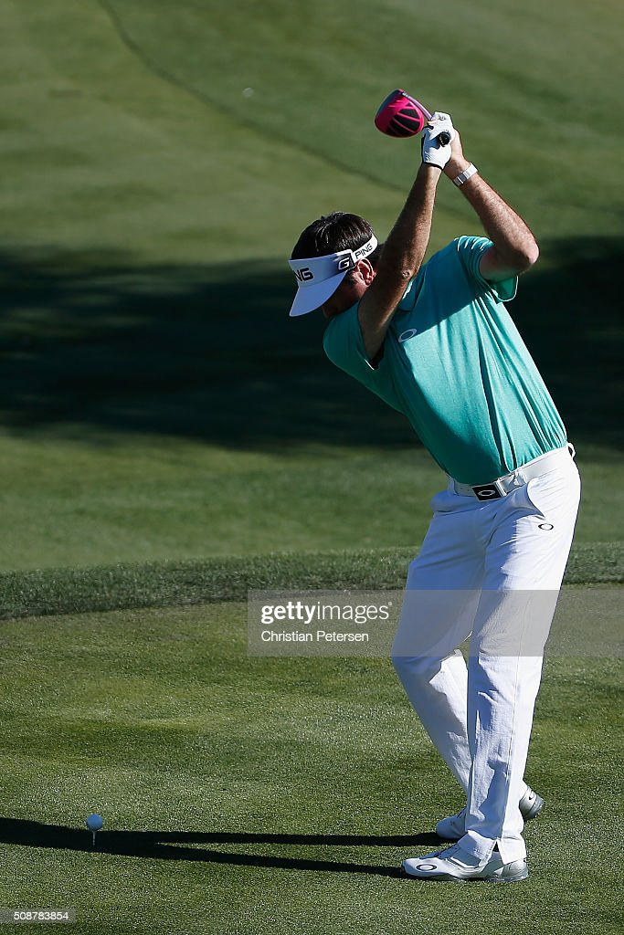 Bubba Watson tees off on the 17th hole during the third round of the Waste Management Phoenix Open at TPC Scottsdale on February 6, 2016 in Scottsdale, Arizona.