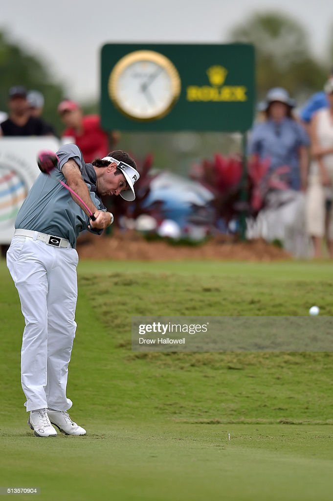 Bubba Watson tees off on the 18th hole during the first round of the World Golf Championships-Cadillac Championship at Trump National Doral Blue Monster Course on March 3, 2016 in Doral, Florida.