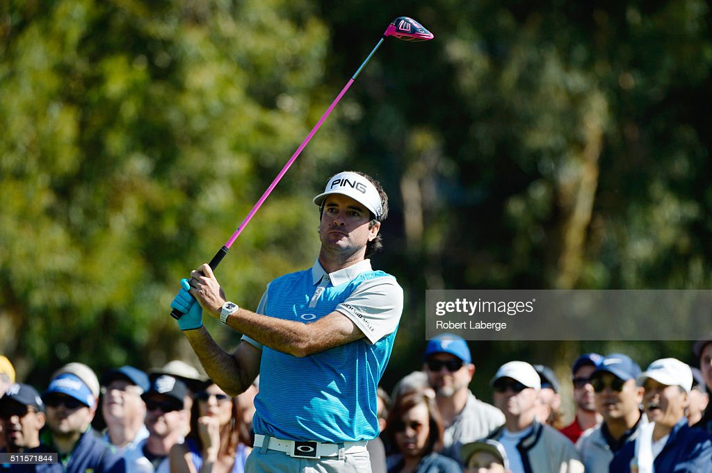 Bubba Watson tees off on the second hole during the final round of the Northern Trust Open at Riviera Country Club on February 21 2016 in Pacific...
