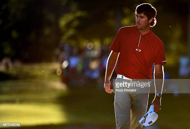 Bubba Watson walks off the 18th green during round two of the Deutsche Bank Championship at TPC Boston on September 5 2015 in Norton Massachuetts