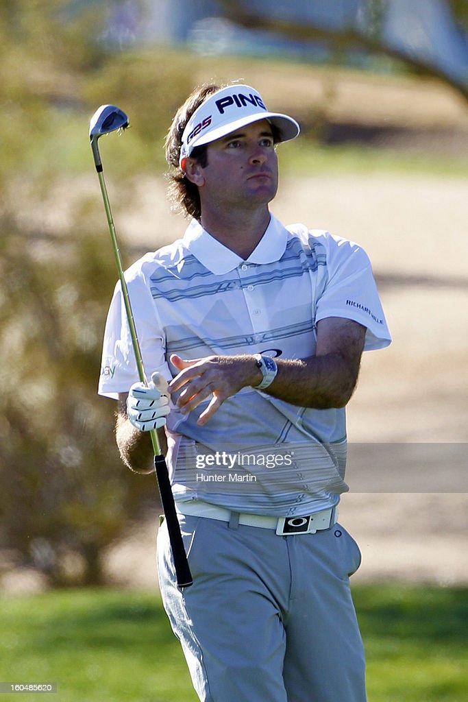 Bubba Watson watches his second shot on the first hole during the second round of the Waste Management Phoenix Open at TPC Scottsdale on February 1, 2013 in Scottsdale, Arizona.
