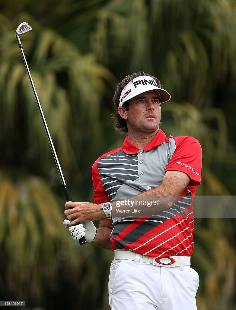 Bubba Watson watches his tee shot on the 13th hole during the third round of the World Golf Championships-Cadillac Championship at the Trump Doral Golf Resort & Spa on March 9, 2013 in Doral, Florida.