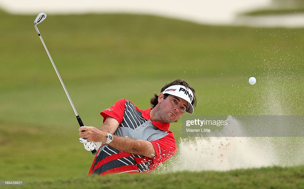 Bubba Watson watches hits a bunker shot on the 12th hole during the third round of the World Golf Championships-Cadillac Championship at the Trump Doral Golf Resort & Spa on March 9, 2013 in Doral, Florida.