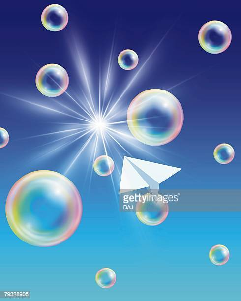 Bubbles and Paper Airplane, CG, 3D, Low Angle View, Lens Flare