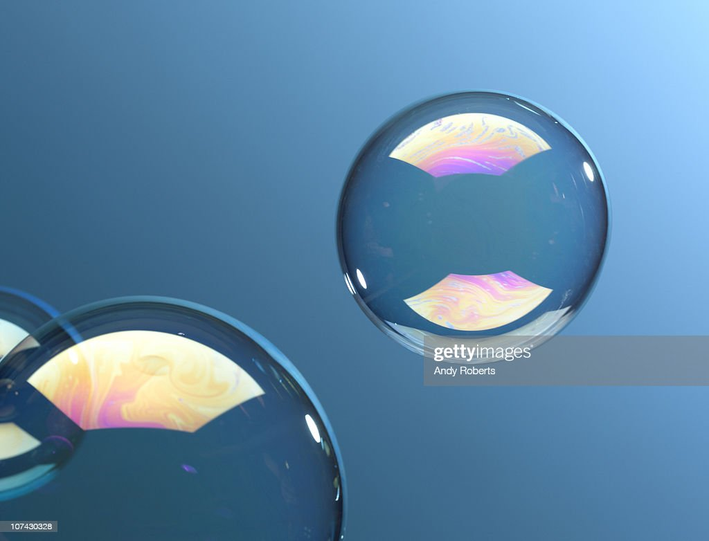 Bubbles floating with blue background : Stock Photo