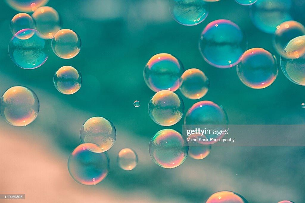 Bubbles in blue tone : Stock Photo
