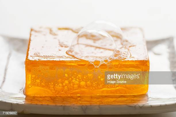 Bubbles on a bar of soap