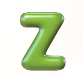 Bubbly 3d font letter Z