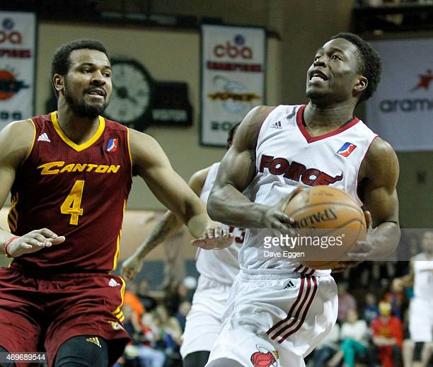 Bubo Palo of the Sioux Falls Skyforce takes the ball to the basket past Chris Crawford of the Canton Charge durig game two of the NBA DLeague playoff...