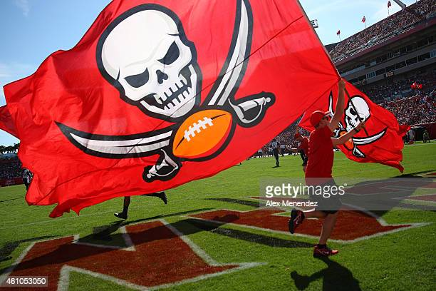 Buccaneer pirate flag is flown after a touchdown score during an NFL football game between the New Orleans Saints and the Tampa Bay Buccaneers at...