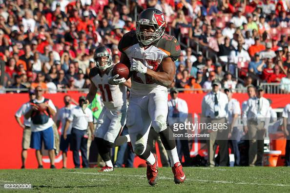 Buccaneers runningback Doug Martin carries the ball during the NFL game between the Chicago Bears and Tampa Bay Buccaneers on November 13 at Raymond...