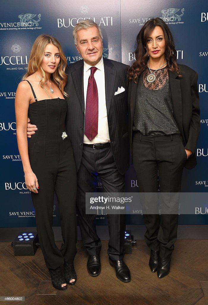 Buccellati Co-Designer Lucrezia Buccellati, Buccellati Creative Director and President Andrea Buccellati, and Global Luxury Brand Developer Maria Buccellati attend Timeless Blue, Buccellati New York Flagship Opening Celebration on March 12, 2015 in New York City.
